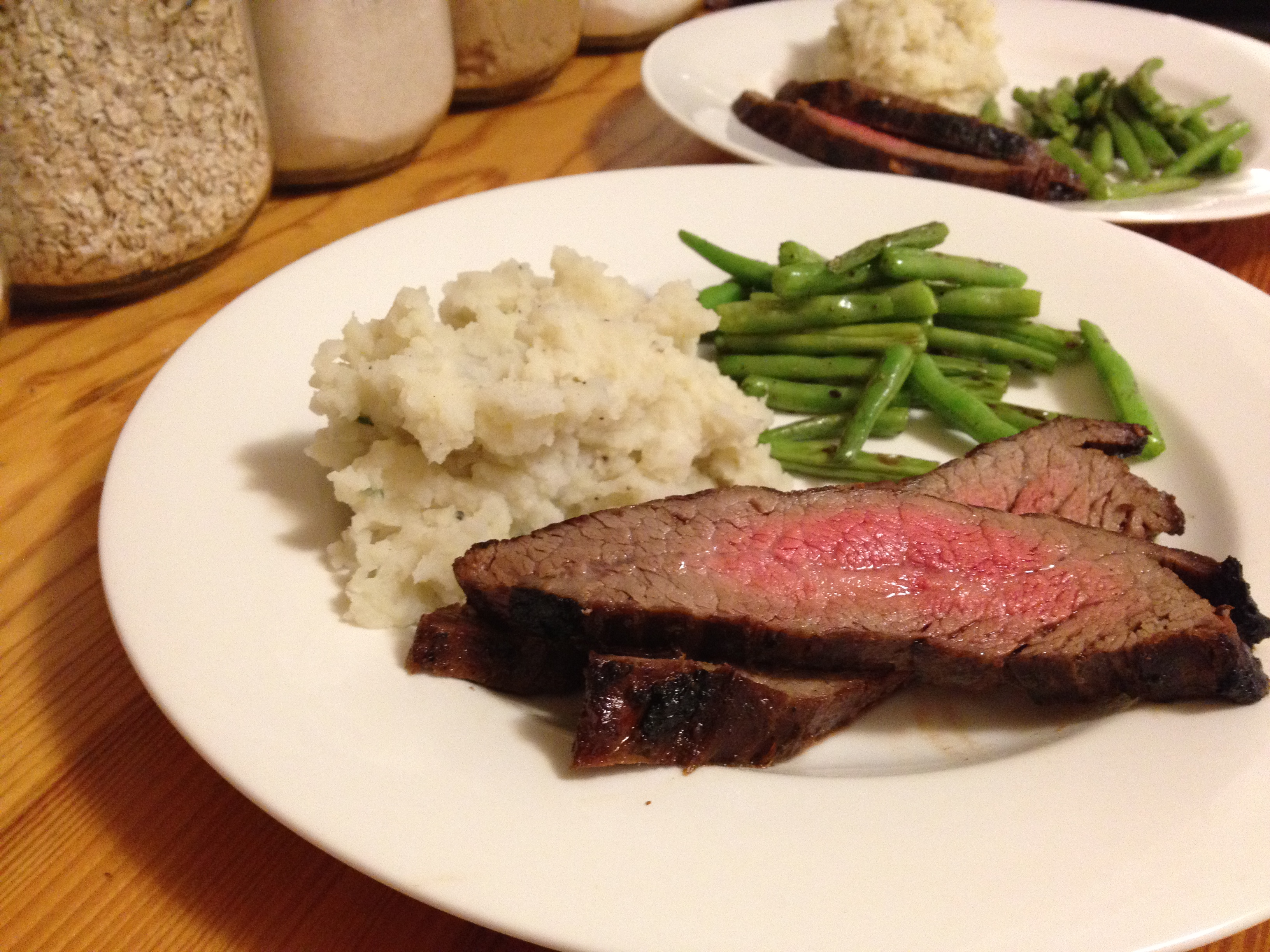... Flank Steak with Parmesan Mashed Potatoes and Garlic Green Beans
