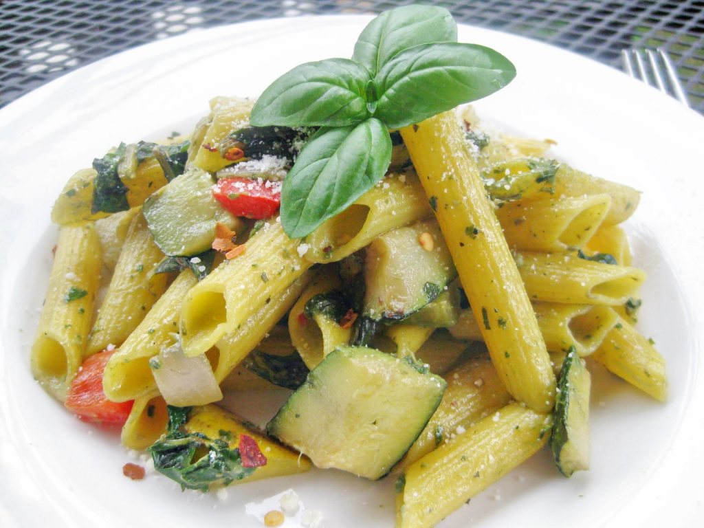 Swiss Chard Pesto Pasta with Grilled Vegetables