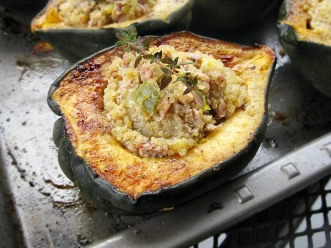 Sausage, Quinoa and Apple Stuffed Acorn Squash