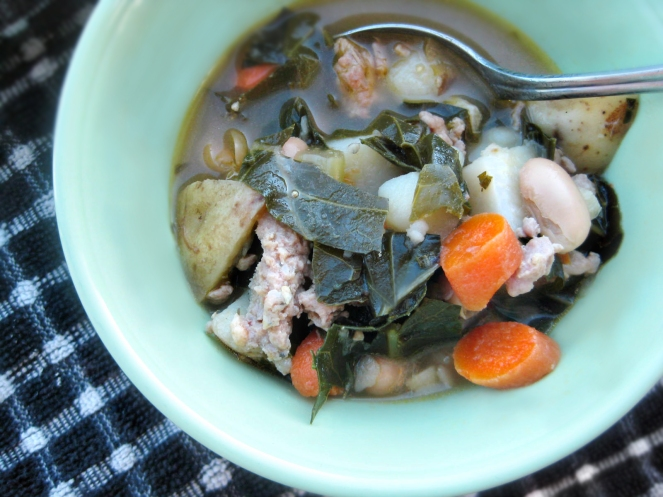 White Bean Soup with Sausage and Collard Greens