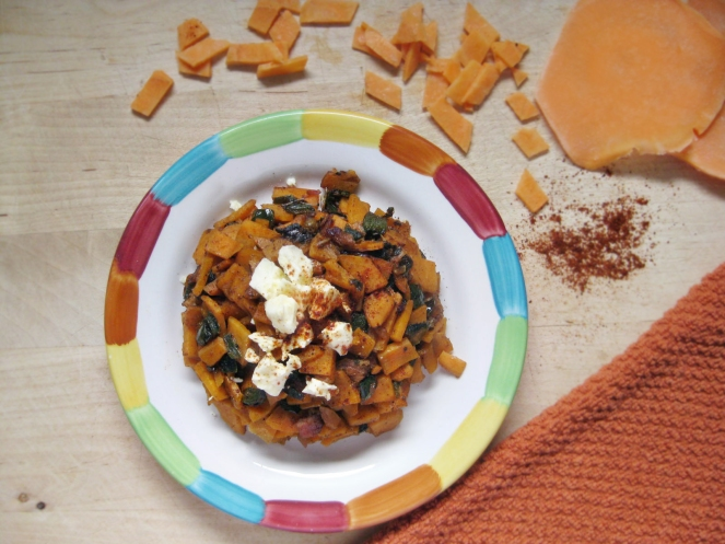 Spicy Sweet Potato and Ham Hash