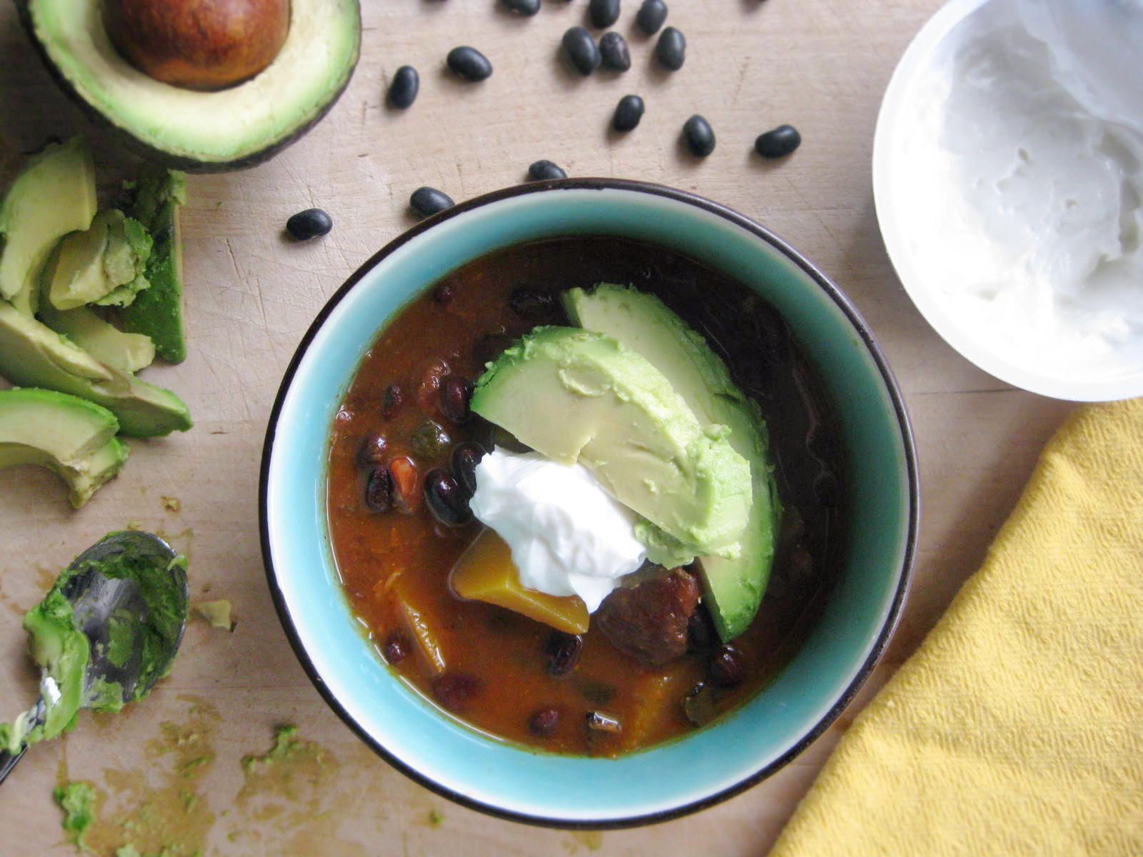 Spicy Black Bean and Butternut Squash Soup